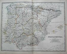 1868 LARGE VICTORIAN MAP : SPAIN & PORTUGAL MAJORCA