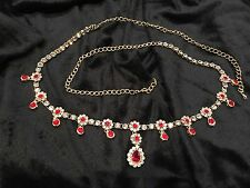Hip Chain Bollywood  Belly Dance Waist Belt Indian Red White Gold Kamar Bandh A6