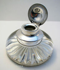 Huge William Comyns Solid Sterling Silver Glass Inkwell Box English HM Antique