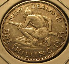 1934 New Zealand One Shilling 50% Silver Coin - NZ