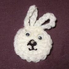 Vintage Crochet Easter White Bunny Rabbit Head Holiday Pin Brooch Hand Made