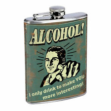 Vintage Drinking Ads Hip Flask D1 8oz Stainless Steel Old Fashioned Retro