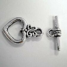 10 Sets Tibetan Silver Heart Toggles Clasps - A6412