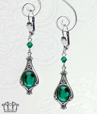 Gothic Antique Silver GREEN CRYSTAL EARRINGS Victorian Style Dangle Drop E48