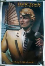 DAVID BOWIE SERIOUS MOONLIGHT 1984 VINTAGE MUSIC RECORD VIDEO STORE PROMO POSTER