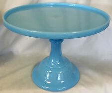 Cake Plate Pastry Tray Bakers Stand - Plain & Simple - Robin Egg Blue Glass 12""