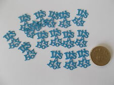100 BLUE ITS A BOY BABY SHOWER CONFETTI TABLE SPRINKLES DECORATIONS FREE P&P