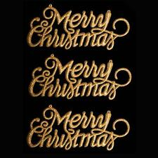 "Christmas Decoration 3 Pack Glitter ""Merry Christmas"" Signs - Gold"