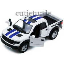 Kinsmart Ford 2013 F-150 SVT Raptor Supercrew Pick Up Truck 1:46 White w Stripes