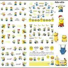 5 Sets Minions Nails WRAPS Nail Art Water Transfers Y100 Approx 100 Decals