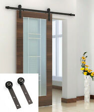 Sliding Barn Door Track Hardware Set 6.6FT Antique Style Country Dark Coffee