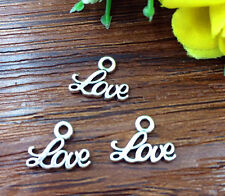 20pcs LOVE Tibetan Silver Bead charms Pendants DIY jewelry 10x12mm