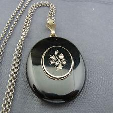 schönes altes Medaillon Silber Gold Diamanten Achat mit Kette Emaille ca.um 1860