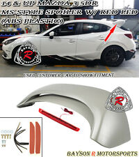 14-17 Mazda 3 Hatch 5dr MS-Style Rear Roof Spoiler Wing (ABS) + Red Lens LEDs