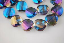 10pcs 14mm Faceted Glass Crystal Twist Discoid Charms Loose Beads Blue Colorized