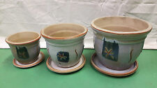 Stylish Quality Ceramic Outdoor Plant Pots & Dishes - Set of 3 Frost Proof