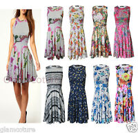 WOMENS LADIES FLORAL PRINT SLEEVELESS COCKTAIL DANCE PARTY FLARED SKATER DRESS