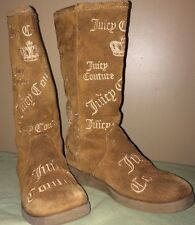 Juicy Couture Tan Suede Logo Embroidery Boots, girl's size 3