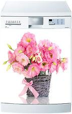 Sticker lave vaisselle déco cuisine électroménager fleur rose 698 60x60cm