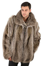 Mens Real Raccoon Fur Coat Jacket Zippered Bomber Style