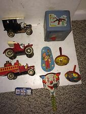 9 Vintage Police Car,Ford Model A T,Fire Truck,Bank,Noisemakers Japan Tin Toys
