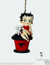 10266 Betty Boop Red Dress Pudgy Pet Dog Bird House Outdoor Hanging