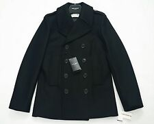 Saint Laurent Paris Black Double Breasted Wool Pea Coat Size IT46