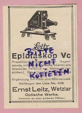 WETZLAR, Werbung 1925, Ernst Leitz Optische Werke LEICA Epidiaskop Vc Projektion