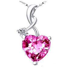 4.03Ct Magenta Pink Sapphire Heart Cut Pendant Necklace Sterling Silver w/ Chain