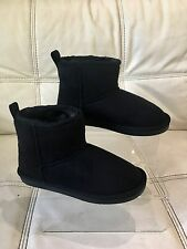 Young Girls Fur Lined Faux Suede 'Shortie' Boots Size 12 Black