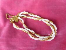 VINTAGE DEMURE MIRIAM HASKELL 7 INCH PEARL AND GOLD CHAIN  BRACELET