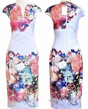 Ted Baker London Pale Blue Brynee Focus Bouquet Bodycon Midi Dress 3 (US 8) $295