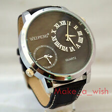 Fashion Men's Black Big Dial XXL 2T Dual Time Cool Leather Satrap Wrist Watch