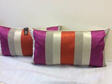 pkt 2 designer silk cushions orange /pink /cream stripe velvet casamance cushion