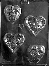 HEARTS WITH ROSES CUPIDS V13 Chocolate Candy Soap molds wedding cupcake toppers