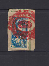 QUEENSLAND 1920 1/6d Blue GV IMPRESSED DUTY -on piece -red BRISBANE cancel  FU