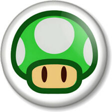 "Super Mario Green Mushroom 1UP Life 1"" 25mm Pin Button Badge Brothers Bros 1-Up"