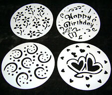 NEW 4 CAKE STENCILS DUSTING ICING SUGAR COCOA HEARTS FLOWERS HAPPY BIRTHDAY SPMS