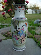 Hand Painted Chinese Porcelain Famille Rose Vase Urn Qianlong Plants Flowers