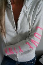 Victoria's Secret Pink Zip-Up Hoodie Sweatshirt Marl Gray White Bling P Sequins