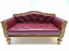 Dollhouse Miniatures Furniture  1076wn Walnut and Red Leatherette Couch
