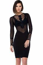 Mini Abito cono aperto nudo trasparente aderente Sheer Drop Bodycon Party Dress