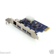 3 Port USB 3.0 + Gigabit Ethernet Combo PCI-E card Support Window XP/VISTA/7/8