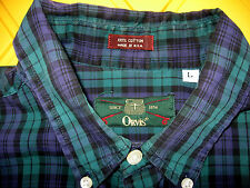 Orvis Fishing Shirt Size LARGE Long Sleeve Green Purple Plaid Button Front worn