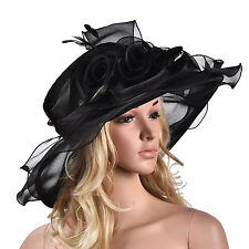 Women Dress Church Wedding Kentucky Derby Wide Brim Feather Sun Floppy Hat A341