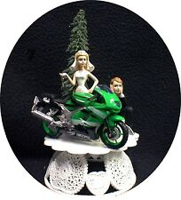 Wedding Cake Topper w/ Kawasaki Green Ninja Crotch Rocket Motorcycle Bike racing