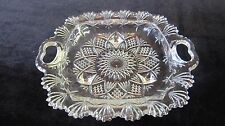 Vintage PASARI INDONESIA Pressed Glass 3 Footed Open Handles Candy/Serving Dish