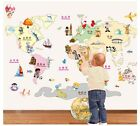 Colorful World Map Removable Wall Sticker Decals Decor kids nursery mural DIY