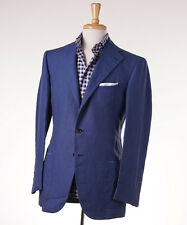 NWT $4700 CESARE ATTOLINI Medium Blue Pure Linen Sport Coat Slim 46 L (Eu 56)