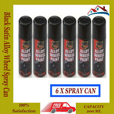 6 x Alloy Wheel Spray Can Restorer Car Bike Auto Paint Black Satin 200ml
